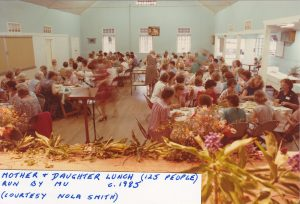 Mother and daughter lunch (125 people) run by Mothers Union. c. 1985. (courtesy Nola Smith)